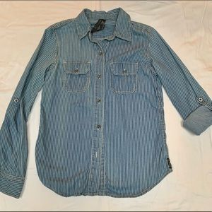 Seven7 denim button up shirt with pin stripes.